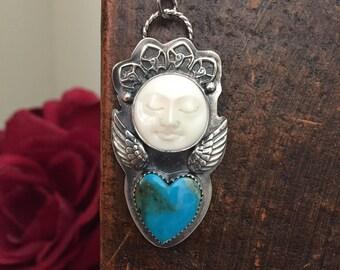 Boho Angel and turquoise necklace