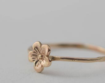 Tiny Gold Flower Ring, Solid Gold Flower, Flower Stacking ring