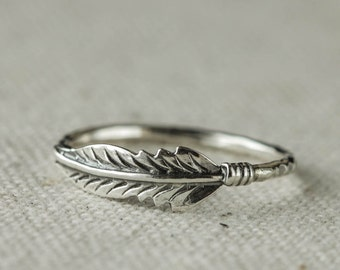 Sterling Silver Feather Ring,  Sterling Silver Ring, Stacking Ring