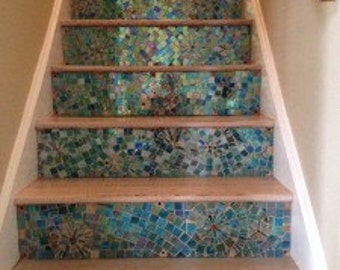 Iridescent Mosaic Stair Riser Art