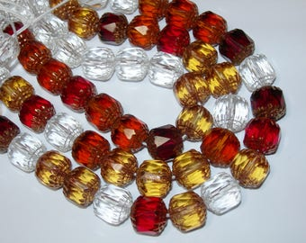 20 Crystal Topaz and Red Cathedral Czech Glass 10mm beads