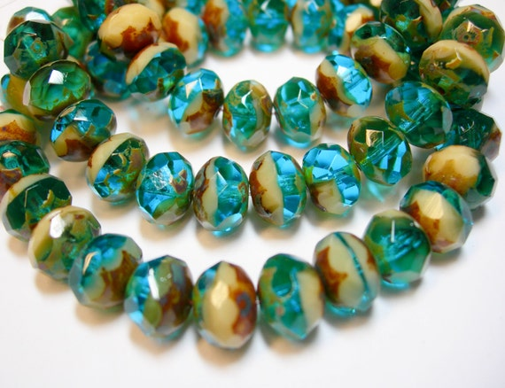 8x6mm Aqua with Silver Wash Czech Firepolished Rondelle beads 25 beads
