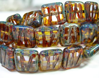 15 10mm Square Crystal Travertine Grooved Czech Glass Beads