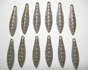 Antiqued Silver plated Leaf Drops Dangles Earring Findings - 12
