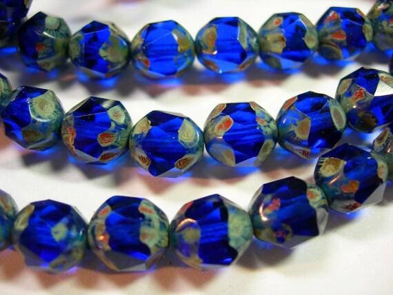 15 9mm Cobalt Blue Travertine Firepolished Thru Cuts Czech Glass Beads
