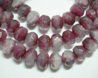 25 8x6mm Raspberry Ice w/ Bronze Czech glass Rondelle beads SAWEET!