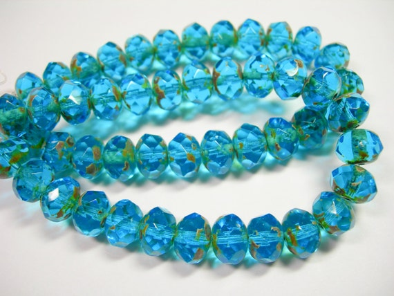 25 8x6mm Capri Blue with Bronze Czech Fire polished Rondelle beads
