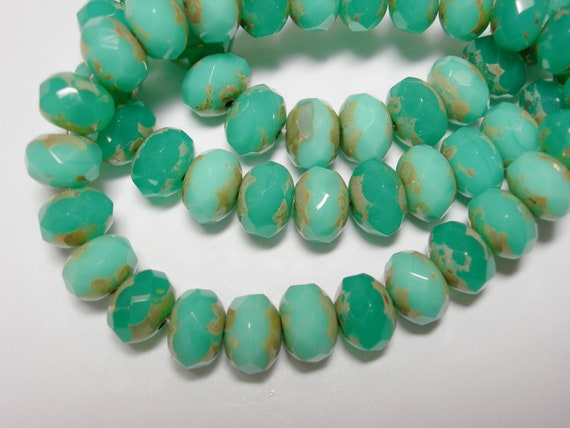 25 8x6mm Turquoise Opal Picasso Czech Glass Fire polished Rondelle beads