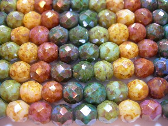 15 8mm Rainbow Matte Luster Fire Polish Czech Glass Beads