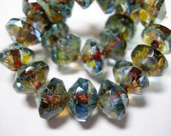 15 8x10mm Czech Glass Faceted Saucer Beads - Blue Sapphire Picasso