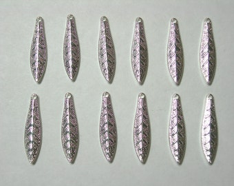 Bright Silver plated Leaf Drops Dangles Earring Findings - 12