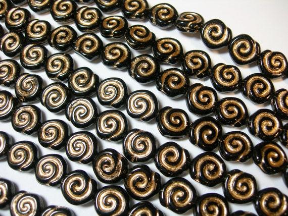 19-10mm Matte Clear with Gold Snail Shell Swirl Spiral Coin Czech Glass Beads