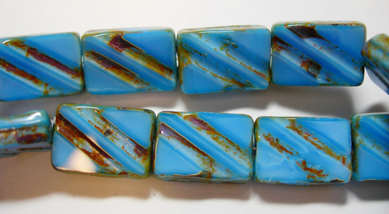 15 Cobalt Blue Picasso Czech Glass Grooved Rectangle beads 8x12mm
