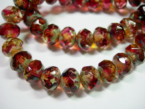 25 8x6mm Jonquil /& Amethyst Blend Picasso Czech Fire polished Rondelle beads