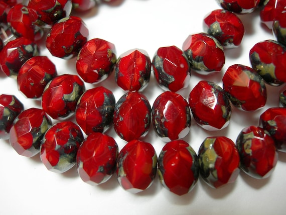 25 beads 8x6mm Opaque Purple and Tan Czech Fire polished Rondelle beads