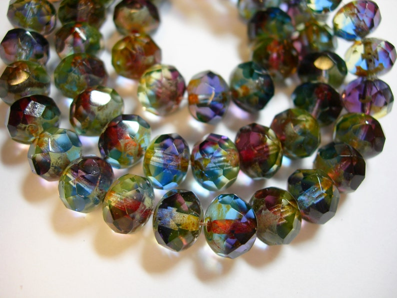 25 beads 8x6mm Pink Summer Sunshine Czech Fire polished Rondelle beads