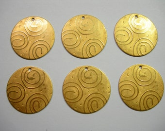 Raw Brass Spiral Embossed Discs Drops Dangles Earring Findings - 6
