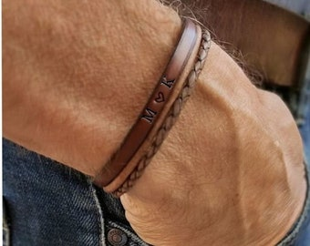Leather Bracelet with Engraved Name or Text in Leather, Personalized gift for Men, Customized Bracelet, Gift For Him, Fathersday Gift
