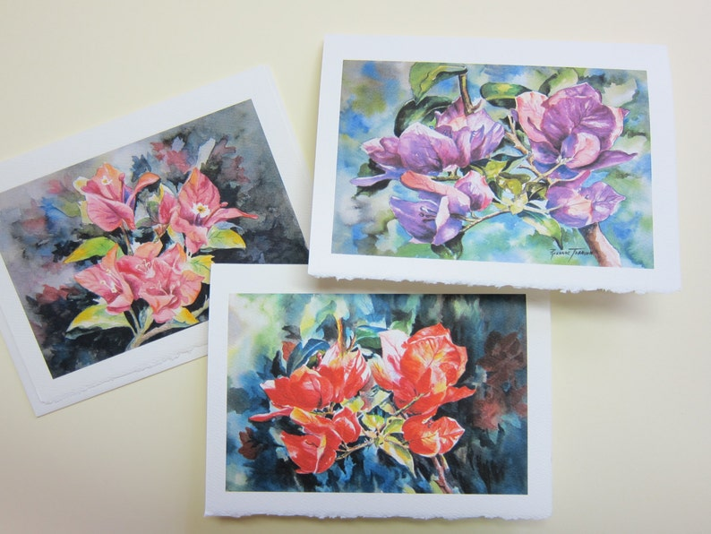 3 Bougainvilleas Variety Assortment 5 x 7 note card watercolor image 0