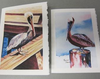 Pelicans 2 Variety 5x7 Note ART Cards, Watercolor print Florida Birds artist Roxanne Tobaison