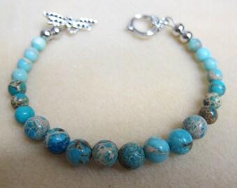 Impression Jasper 8 inch Bracelet 8mm & 6 mm Beads Bracelet Made by WatercolorsNmore