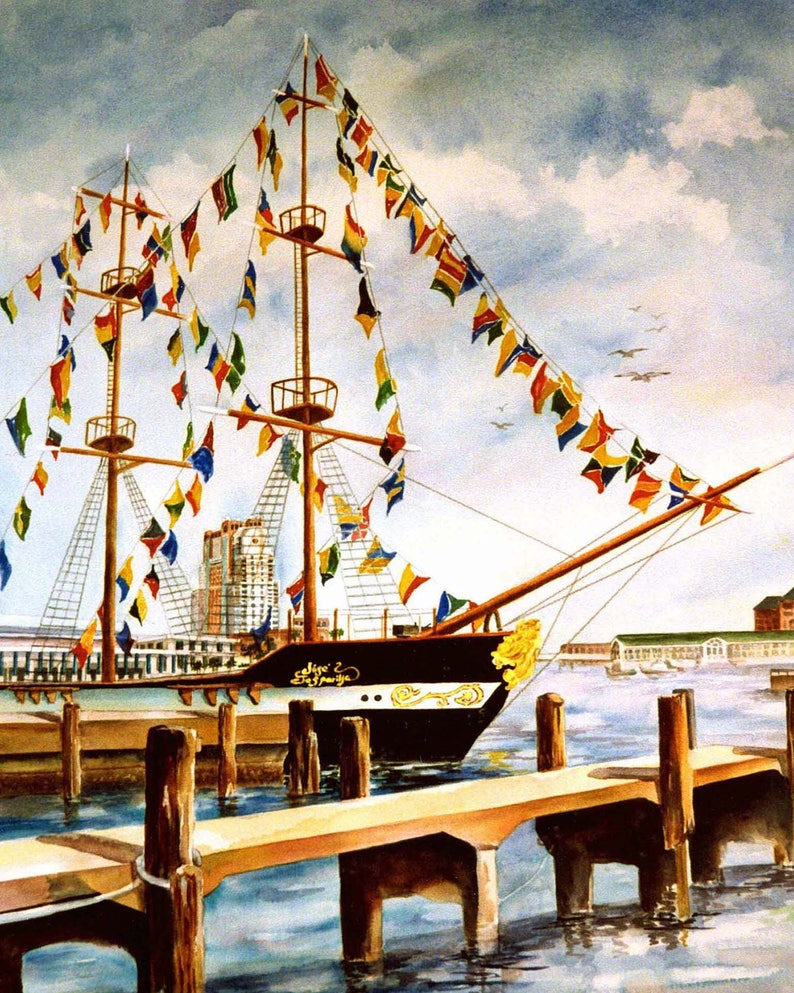Jose Gasparilla Pirate Festival Watercolor ArtPrint 8 x 10 or image 0