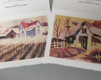 First Snow & Whimsy Rainbow Barn, 2 Note Cards 5 x 7 greeting card handmade watercolorsnmore