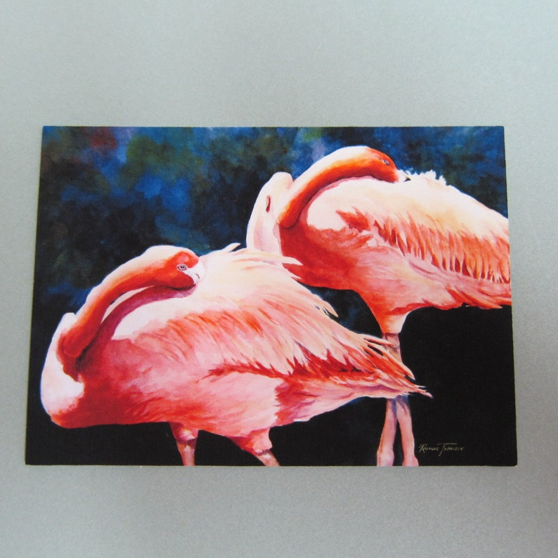 Flamingos ACEO 389 watercolor print watercolorsNmore Florida Pink