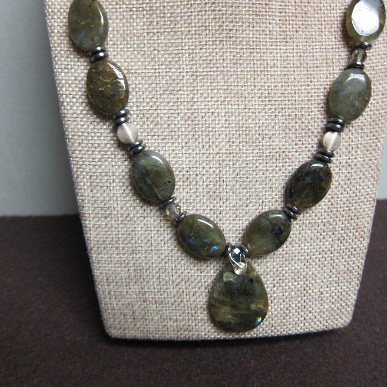 Labradorite Gemstone Necklace with Pendant chuncky beaded wire image 0