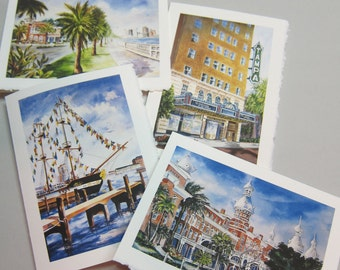 Tampa Florida Historical Landmarks, 4 cards Assortment 5 x 7 Note cards by watercolorsNmore Gasparilla
