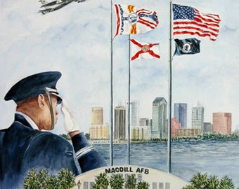 Salute, MacDill AFB Collage 11 x 15 Prints by Roxanne Tobaison Veterans Military