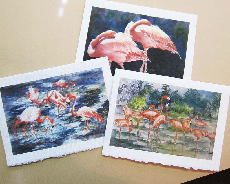 Flamingo  flamingo art watercolor prints set of 3 Note image 0