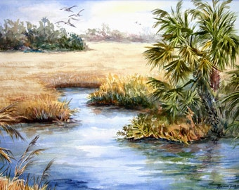 Old Florida Inlet III Fine Art Print by Roxanne Tobaison Sawgrass WatercolorsNmore