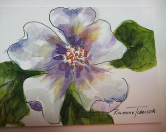 White Flower, ACEO, Print of Watercolor painting, purple, 893 watercolorsNmore