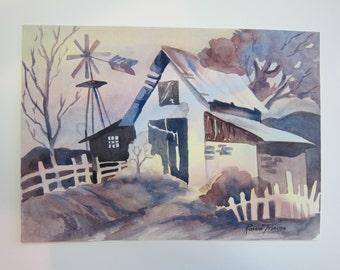 Whimsy Rainbow Barn Original Watercolor 10 x 14 inch home decor decorative wall art watercolorsNmore