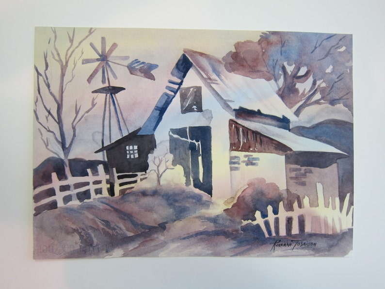 Whimsy Rainbow Barn Original Watercolor 10 x 14 inch home decor decorative wall art watercolorsNmore