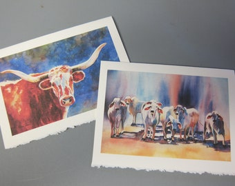 Cows, Brahman, Bulls Texas Longhorn - 2 Note Cards, 5 x 7,  jewel tone, Brahman art, Cow art, bull art, watercolorsNmore