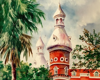 University of Tampa ART GiClee PRints 11 x 15 - 3 Choices Tampa Florida landmarks Roxanne Tobaison