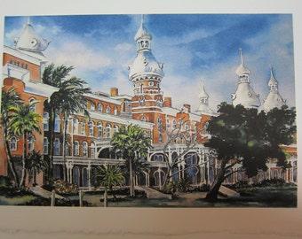 University of Tampa, 5 x 7 note card watercolor print Florida Historical