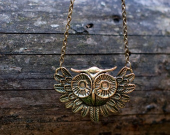 Big owl necklace antiqued bronze necklace with huge owl charm rustic frorest woodland jewelry