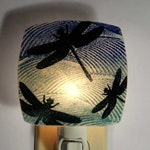 Dragonflies Night Light Made with Recycled Windows