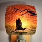 Heron Night Light Made with Recycled Windows
