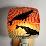 Whale Night Light Made with Recycled Windows