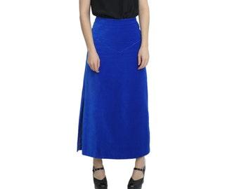 Royal Blue VELVET Maxi Skirt | S / M | Long Velvet A-Line Skirt
