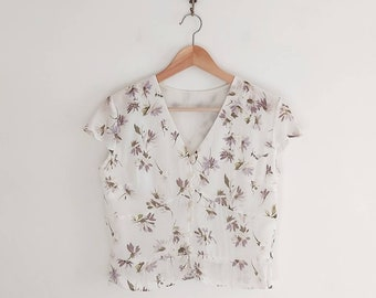 00s White Floral Blouse