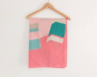 Vintage Geometric Scarf in Pink and Green