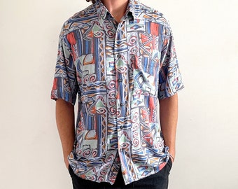 90s Printed Men's Shirt, Abstract Blue