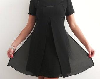 Vintage 00's Chiffon Little Black Dress