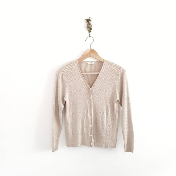 90s Tan Cropped Cardigan