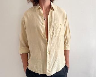 Vintage Men's Cream Silk Shirt